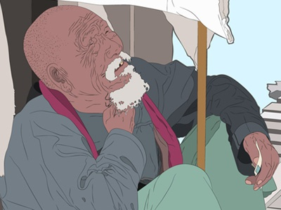 Birmanian Homeless illustration