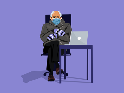 Berning designer mittens character headphones laptop 2021 illustration designer graphic meme election sanders bernie