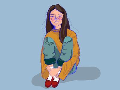 Girl Illustration blue colors jeans outline sitting socks shoes yellow fall sweater girl design illustration art
