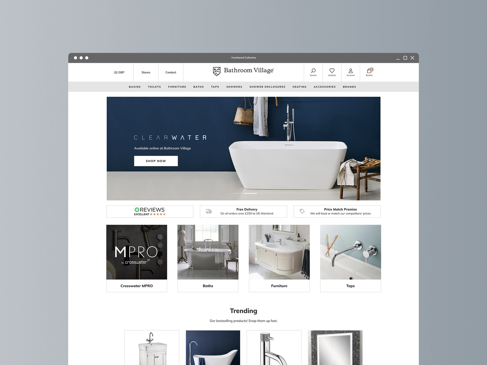 Bathroom Village Shopify store design by Untethered Collective ...