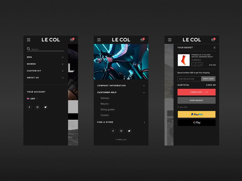 Le Col Mobile mobile menu mobile dark sport wiggins cycle minimal e-commerce shopify