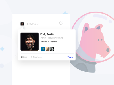 Profile Preview for SaaS Idea Sharing Platform card ui hover state hover popover user account membership card member people profile design profile image profile card preview ux profile account