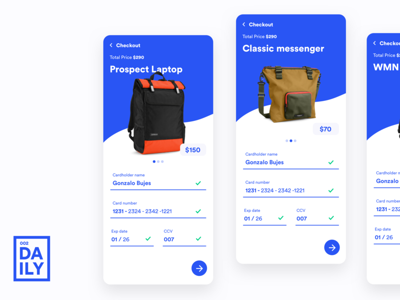 Credit Card Checkout ux design price blue mobile design mobile ui design daily challange daily 002 mobile ui design credit card bag creditcard credit card checkout check out checkout checkout form ui daily dailyui