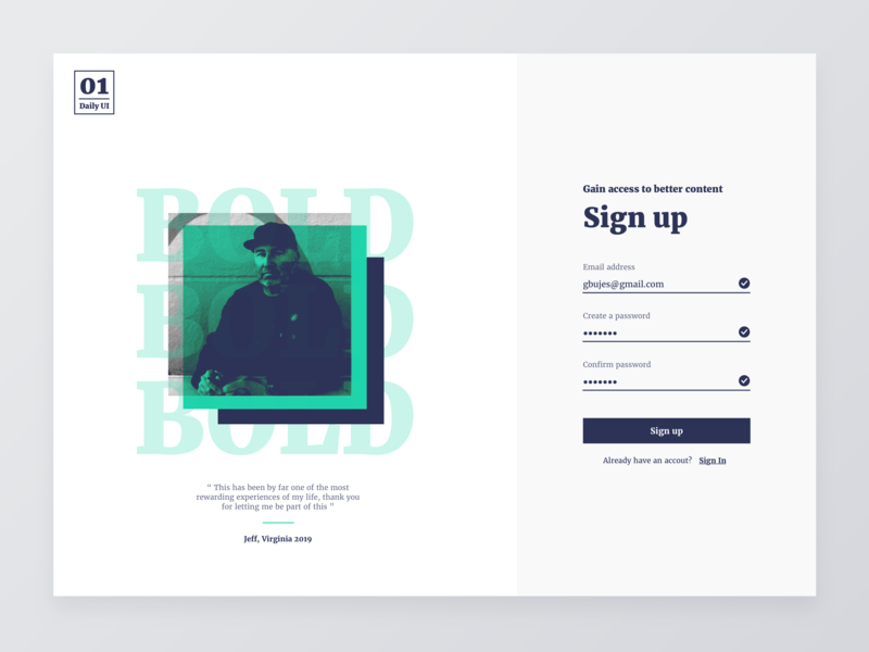 Sign up forms bold 001 design user interface sign up signup minimalist minimal green desktop daily ui dailyui ui daily
