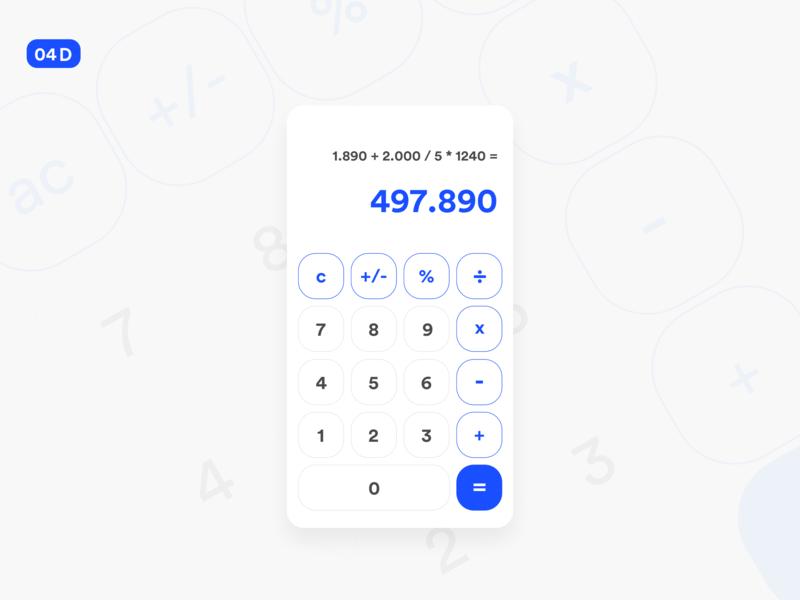 Calculator ui design iphone x design app blue daily ui challenge daily ui daily ios minimalist numerical design calculation calculator app numeros numbers numeric pad calculate calculator calculator ui