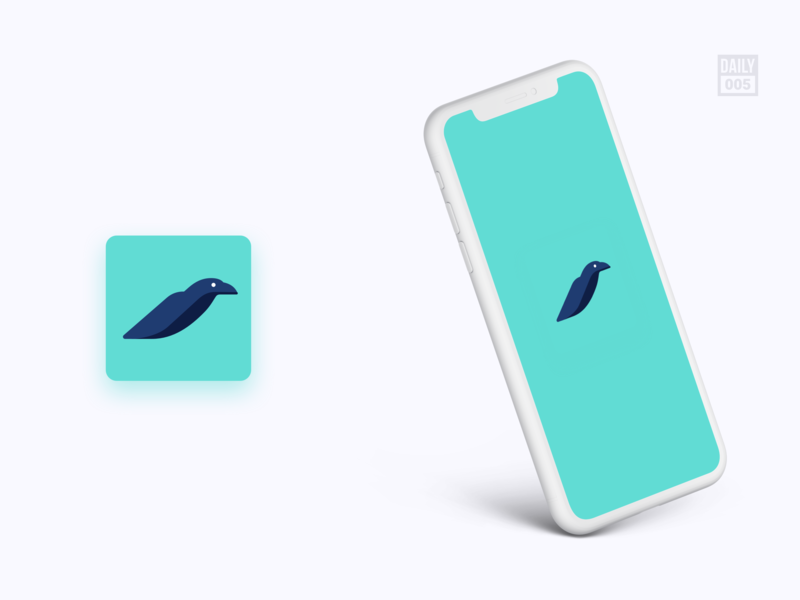 App Icon 005 crow app icon design app icons app ui splash icon app icon app green branding logo illustration minimalist daily ui design ui design ui daily dailyui
