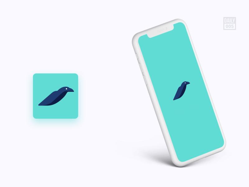 App Icon 005 crow app icon design app icons app ui splash icon app icon app green branding logo illustration minimalist daily ui design ui design ui daily dailyui
