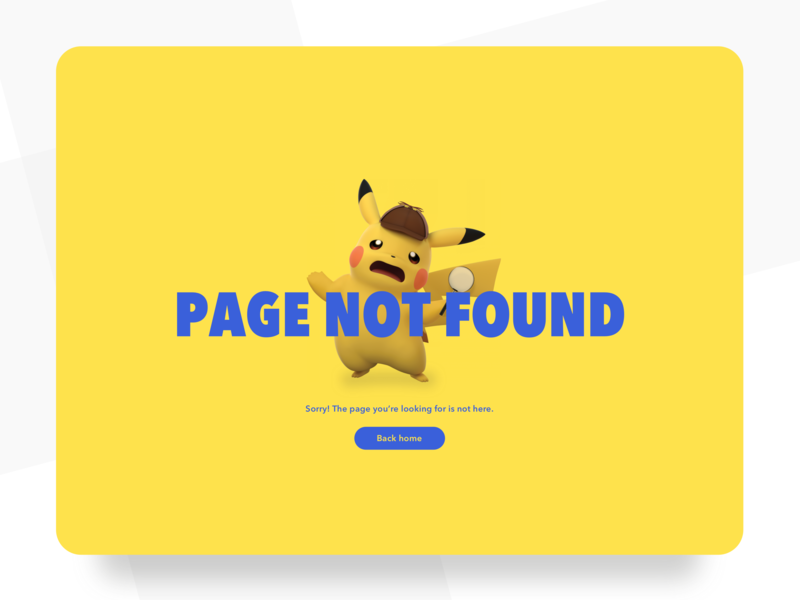 404 minimalist website web design web daily ui challenge challenge daily daily ui pikachu pokemon yellow desktop design ui design ui page not found 404 error 404 page 404page 404