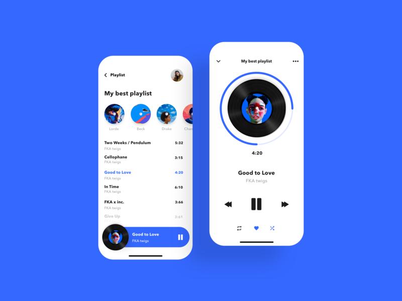Music Player mobile design simple simplicity minimal colors green blue mobile app mobile design mobile ui minimalist daily ui ui design ui music art music player music app music