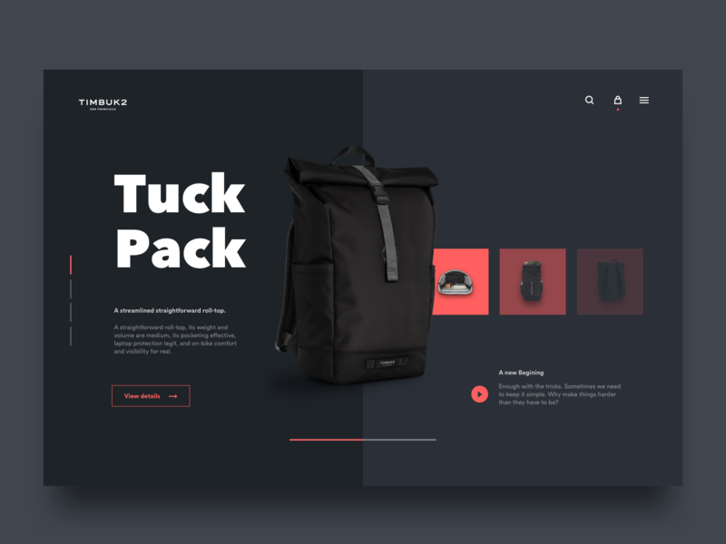 Backpack Ecommerce Website - Dark Concept color backpack webdesign web black web design desktop user interface ui design ui design minimal dark dark ui minimalist