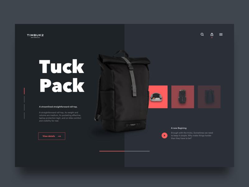 Backpack Ecommerce Website - Dark Concept color backpack webdesign web black web design desktop user interface ui design ui design minimal dark dark ui minimalist