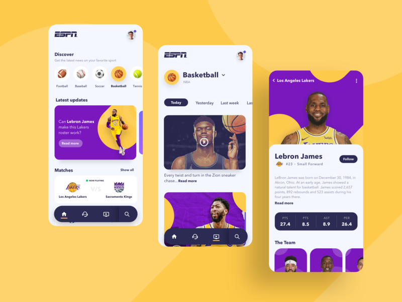 Sports News App colorful app design espn basketball minimalism newsfeed shapes lakers news feed feed news colors web design app user interface minimal minimalist ui ui design design