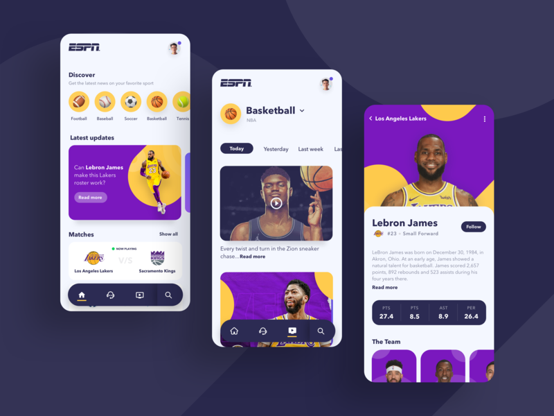 Sports News App colorful colors uidesign news feed newsfeed sports design sports sport espn application app design app user interface minimalism minimal minimalist ui design ui design