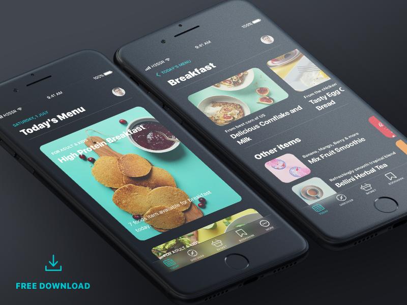 Food Dark_iOS 11 mobile ui design iphone free app freebie free debut dark ios11 ios food