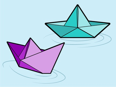 Paper Boats origami paper ripples water float boat pin