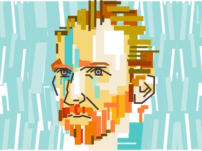 Vincent colorful van gogh line illustration