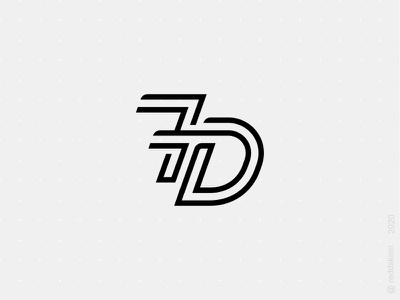 7D monogram logo monochrome number monogram
