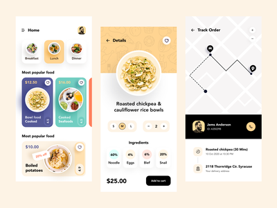 Food Delivery - Mobile App application ux design food delivery app clean ui minimal uiux ux ui mobile app design mobile ui ui design app design app ios product design user experience food app food ios app mobile app