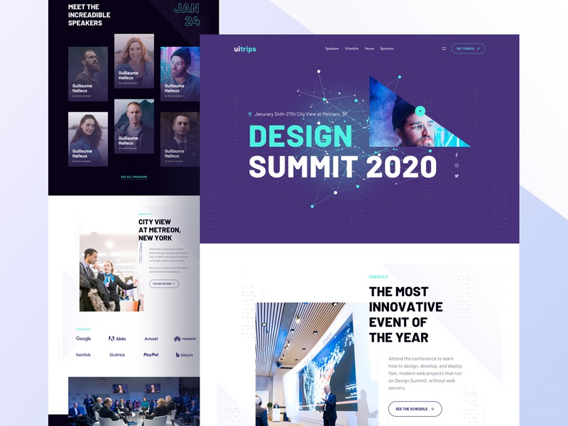 Landing Page for Event. conference design event template creative design event app dashboard ui trendy webapp web design minimalistic website homepage landingpage conference event