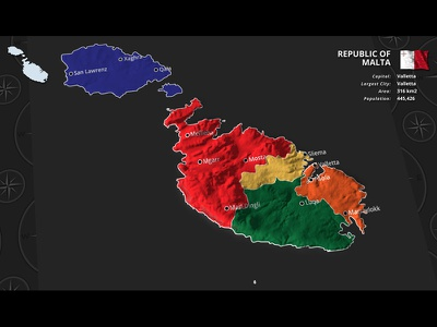 Malta Administrative Divisions Style element3d project kit europe template doru videohive video after effects malta