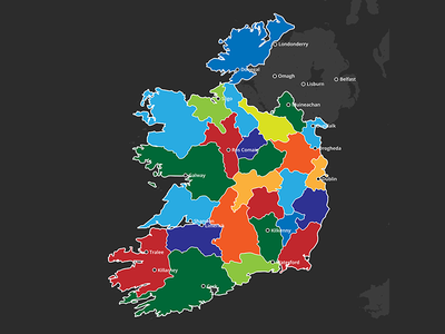 Ireland Administrative Divisions element3d project kit europe template doru videohive video after effects ireland