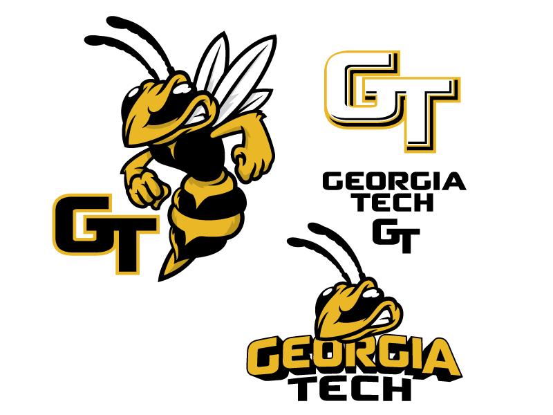 Georgia TECH branding clothingline logo flip bee character customdesign college mascot
