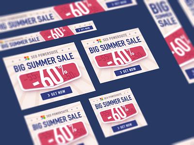 Big Summer Sale banners color discount summer sale set banner