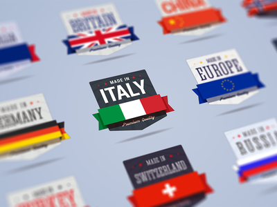 Country Badges italy germany norway china britain australia sticker icon sign made in badge country