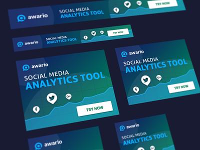 Awario Banners chart button facebook twitter tool design web color social media banner