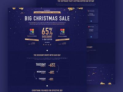 Landing Page Design for SEO PowerSuite Christmas Sale discount sale confetti gold design christmas site website landing landing page