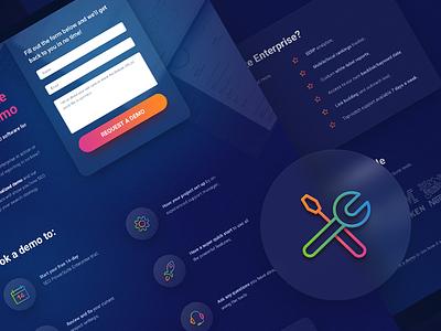 Landing Page Design for SEO PowerSuite Demo blue promo gradient site page icons landing icon color design website
