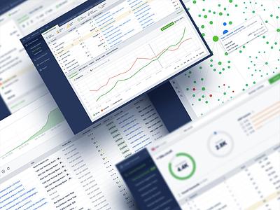 Desktop Application for SEO seo table pie chart interface app design ui
