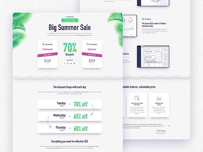 Landing page design for Summer Sale 2019 offer discount summer webdesigner webdesign landing page sale illustration landing web website
