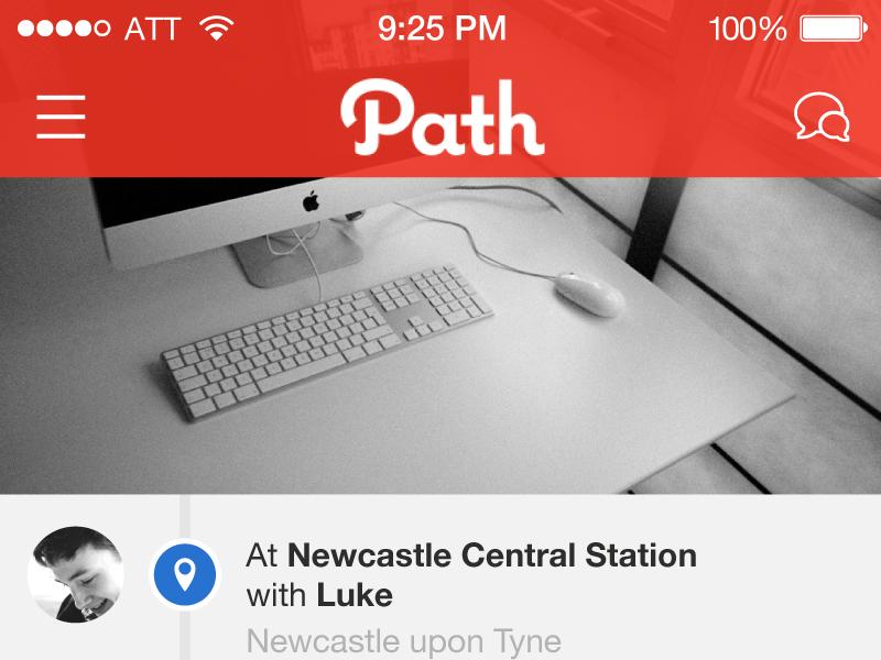Path – iOS7 Redesign ios ios7 7 iphone app redesign flat path application