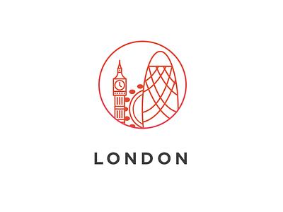 London sopost london contact location icon illustration red big ben gherkin london eye