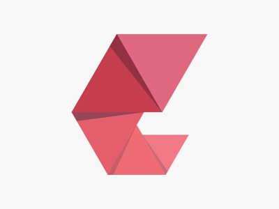 Research Through Design Logo logo design icon brand branding red origami shadow folds triangle