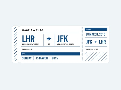 Heathrow to JFK Plane Ticket travel ticket heathrow jfk new york london plane airplane boarding pass illustration