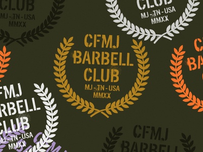 CFMJ Barbell Club olive gold laurel crossfit weightlifting barbell spray texture