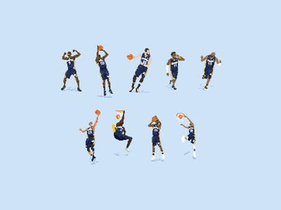 Pixel Grizzlies hoop city vince mike marc ta zbo nba memphis grizzlies basketball art pixel