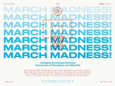 March Madness 2018 one shining moment dandy diaper cinderella bracket ncaa college hoops basketball madness march flyer