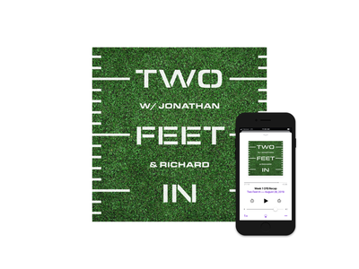 Two Feet In Podcast sports football concept logo podcast art