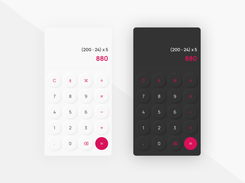 DailyUI 004 - Calculator modern ui design neumorphic skeumorphism neumorphism calculator design calculator app calculator sanserif material icons dark ui dark theme ui dailyui