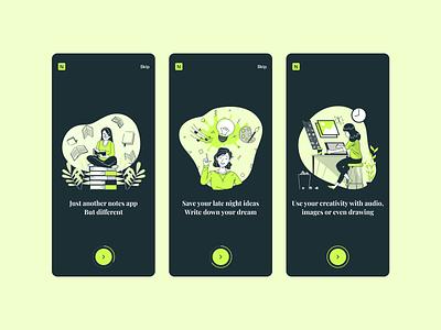 Notefly | Onboarding notes app onboarding ui dark ui app illustration design ui dark theme mobile design mobile ui walktrough onboarding