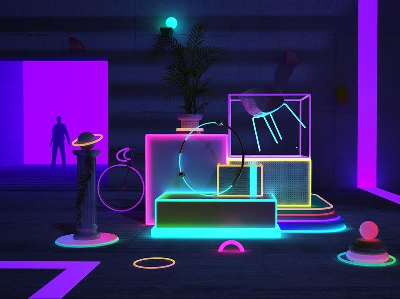 Versatil Neon debut illustration colors cinema4d artdigital animation graphics digitalart artdirection 3d