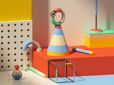 B A L A N C E cgi motion cinema4d design artdigital 3d graphics digitalart colors artdirection debut