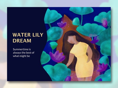 Water Lily Dream illustration canoeing water lily web design summer digital painting