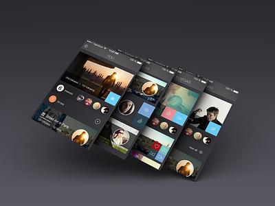 Carousel app - ios7 flat ios7 ux ui app dark gradient social media emilie badin carousel
