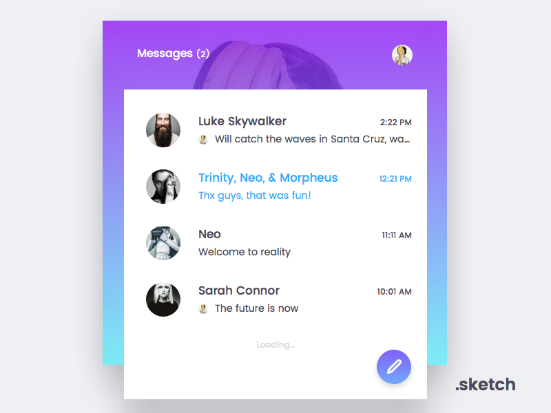 Messenger | Freebie android ios web app inbox chat messenger vector sketch freebie free