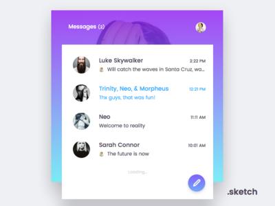 Messenger | Freebie android ios web app inbox chat messenger vector sketch freebie free