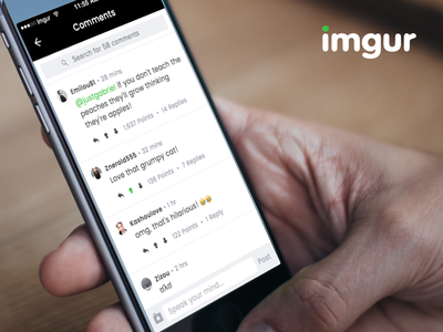 Working with Imgur upvote vote reply search ios gag hand iphone app comments redesign imgur